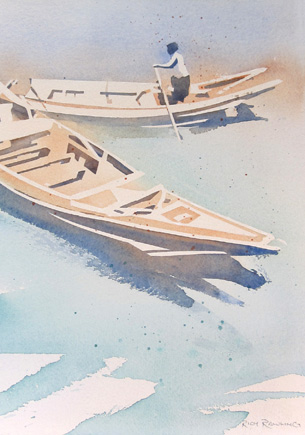 Watercolour-YangonRiverTwoBoats-RichRawling-435px