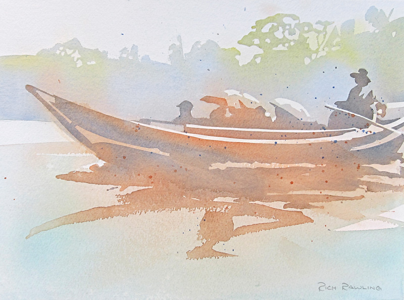 Watercolour-YangonRiverBoatMistyTrees-RichRawling-800px