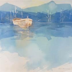 Britannia Rowboat on Blue<br>13 x 13 - Sold