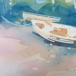 Rowboats on Stormy Beach 1<br>12 x 8 - Sold
