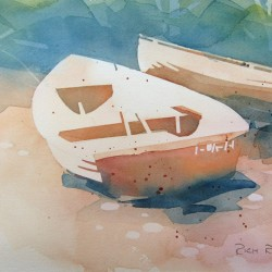 Rowboats on Stormy Beach 2<br>12 x 8 - $290