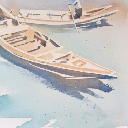 Passing Boats on the Yangon River<br>12 x 16 - $420